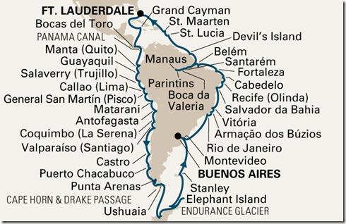 SA Cruise map