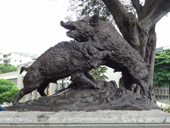 12 Statue of fighting pigs in Parque Bolivar