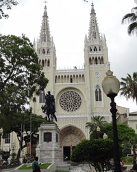 13 Cathedral & statue of General Bolivar (the cathedral is really white on off-yellow in color, very pretty)