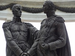 16 Statue of Bolivar & San Martin meeting in Guayaquil (they didn't get along &  reached no alliance)