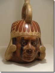 17 Man's head pottery water vessel (Moche, pre-Inca)