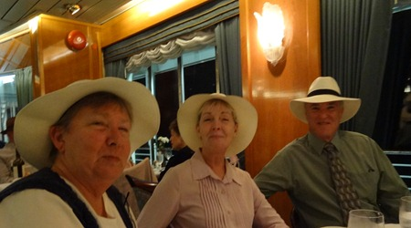 30 Mary & Steve and Kathy Beasley, Panama Hat Night in Prinsendam Restaurant