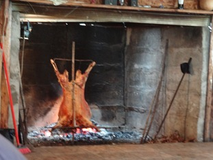 51 Lamb on spit at  Pangal quincha (out-bldg for parties & celebrations)