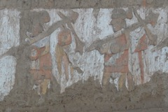 64 Warriors carrying war clubs, inside wall of Temple of the Moon
