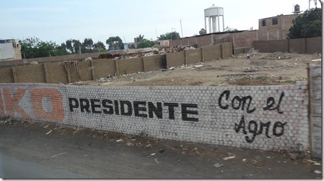 76 Keiko for President sign painted on wall in Trujillo