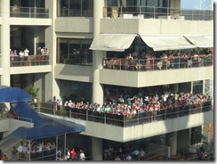 Crowd at viewing platform at Miraflores locks watching us