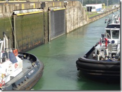 Gatun lock doors tucked into canal wall