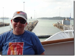 Mary at last lock door at Gatun (2)