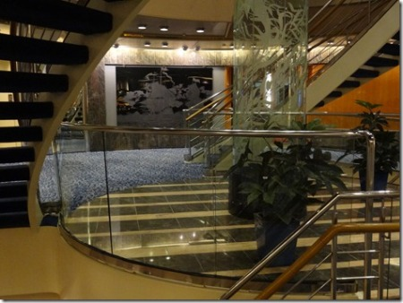 Prinsendam Atrium, with etched & frosted glass ship picture