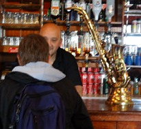 21 Mary & saxophone beer tap in Globe Tavern
