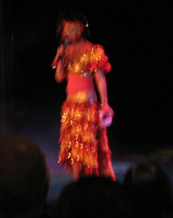 35 Cruise Director Linda in Carnaval dress
