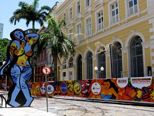 41 Bldg with street decorations in Recife