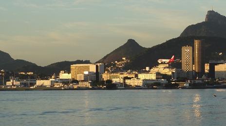 41 Sailing into Rio at sunrise - plane landing