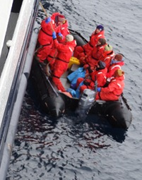 54 Palmer Island visitors jumpimg into Zodiac