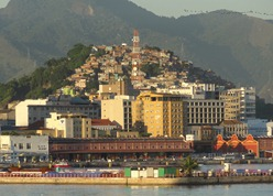 55 Sailing into Rio at sunrise - Favela