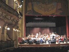 12 Orchestra rehearsing on stage of Teatro Amazonas