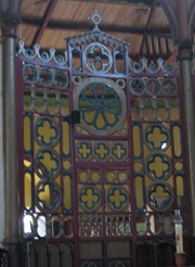 33 cast iron door on stage at cathedral
