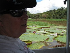 33 Mary at Lake January, with giant water lillies