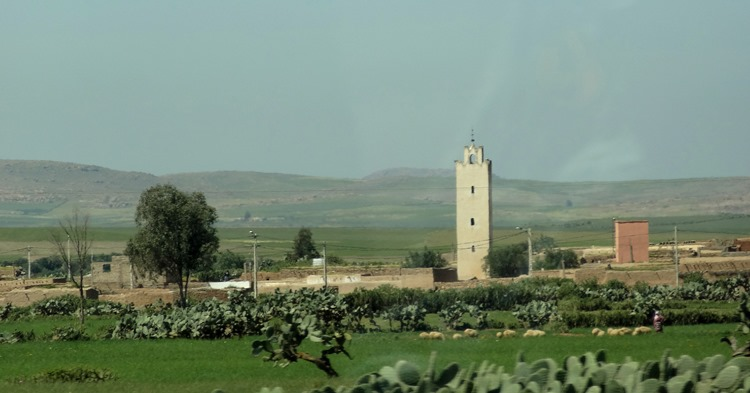10a. Road from Casablanca to Marrakesh-village with minaret