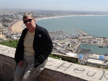115.  Mary overlooking Agadir from old Casbah, Morocco
