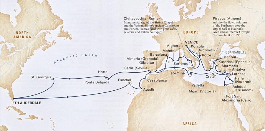 2013 Grand Mediterranean itinerary
