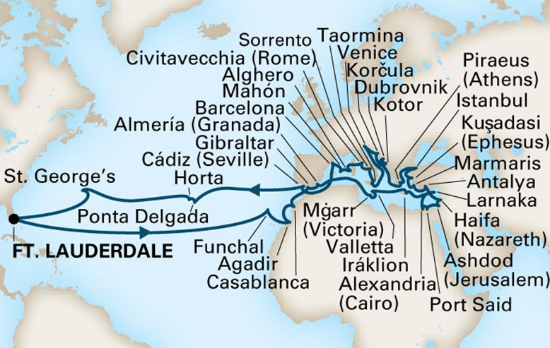 Map of Mediterranean Cruise