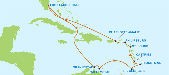 2014 Southern Caribbean itinerary