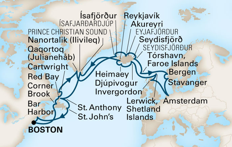 "Map of itinerary for 2014 ""Voyage of the Vikings"""