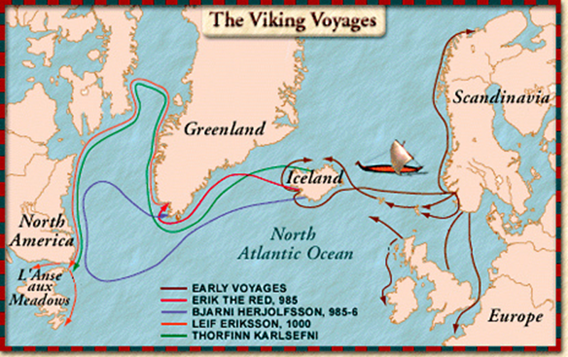Map of major western exploration voyages of the real Vikings