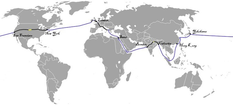 Phileas Fogg's route in 1872