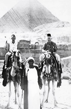 Arthur & Fred Bleich on camels at the Pyramids in Egypt
