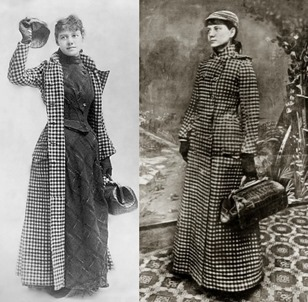 Nellie Bly in her travel coat carrying her luggage