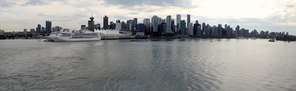 Vancouver skyline as we sailed away; the cruise terminal is right behind the white ship
