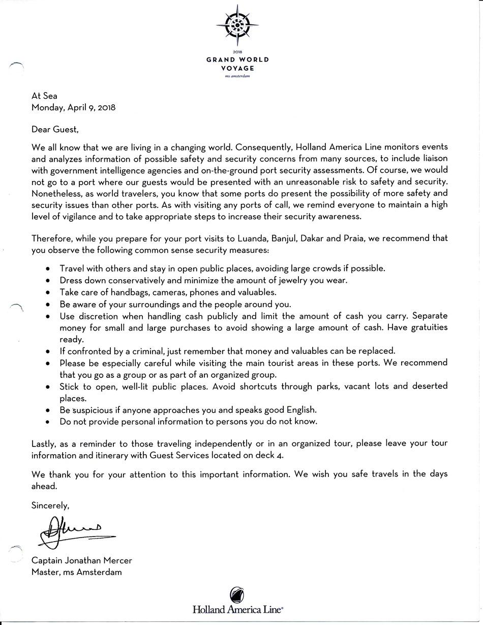 Captain's Luanda Letter