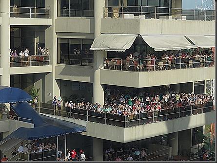 Crowd at viewing platform at Miraflores locks watching us