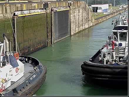 Gatun lock doors tucked into canal wall