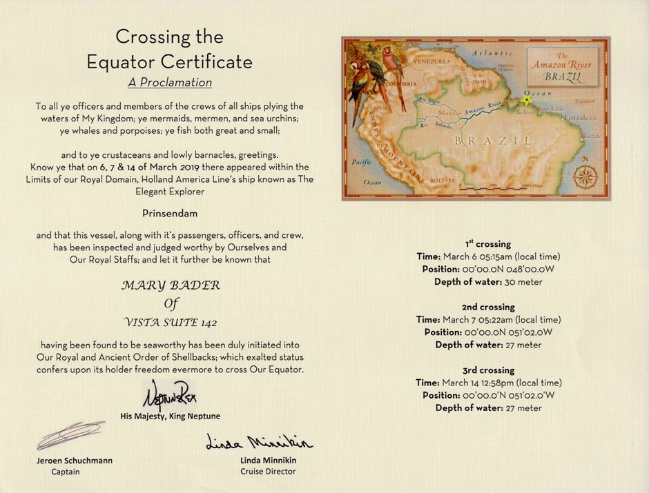 Equator crossing certificate -001
